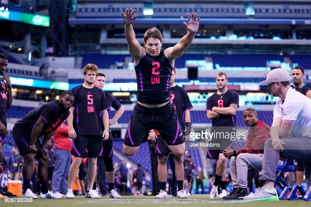 Wyoming quarterback Josh Allen competes in the broad jump during the NFL Combine at Lucas Oil Stadium on March 3 2018 in Indianapolis Indiana