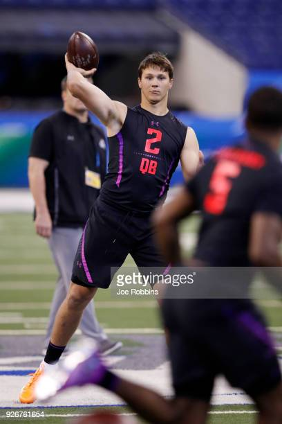Wyoming quarterback Josh Allen throws during the NFL Combine at Lucas Oil Stadium on March 3 2018 in Indianapolis Indiana