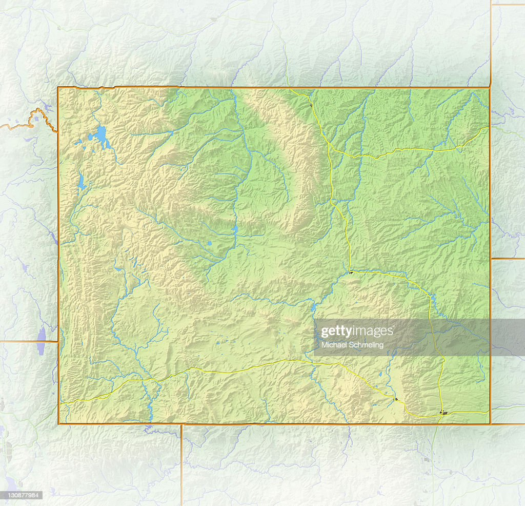 Wyoming Shaded Relief Map Usa Stock-Foto - Getty Images
