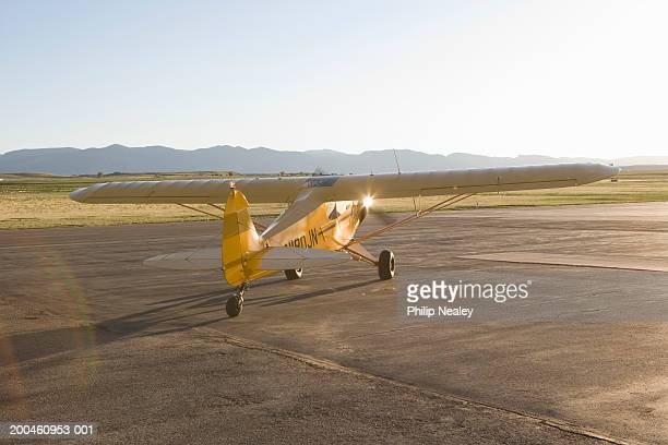 USA, Wyoming, Sheridan, small plane on airfield, rear view