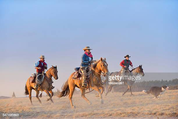 USA, Wyoming, three riding cowboys and a dog
