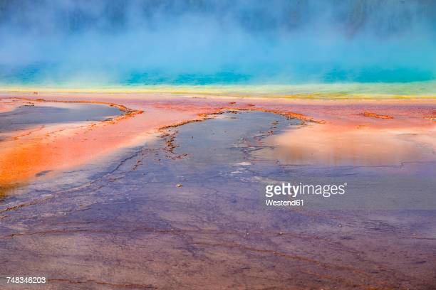 USA, Wyoming, Yellowstone National Park, Grand Prismatic Spring with puffy clouds