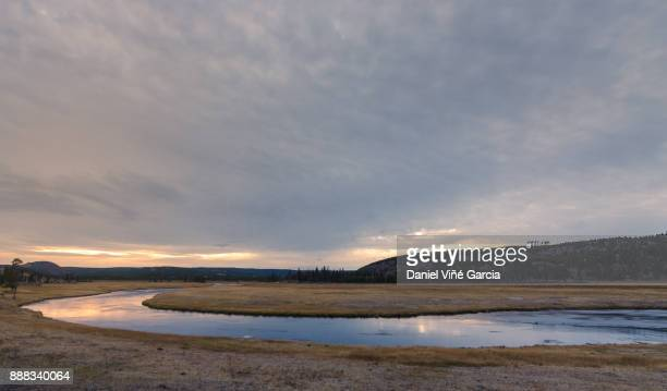 USA, Wyoming, Yellowstone National Park, Yellowstone River in the sunset