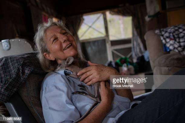 Wytaliba resident and wildlife carer Julie Willis cradles a baby kangaroo named Thirty on January 14 2020 in Wytaliba Australia Julie and her partner...