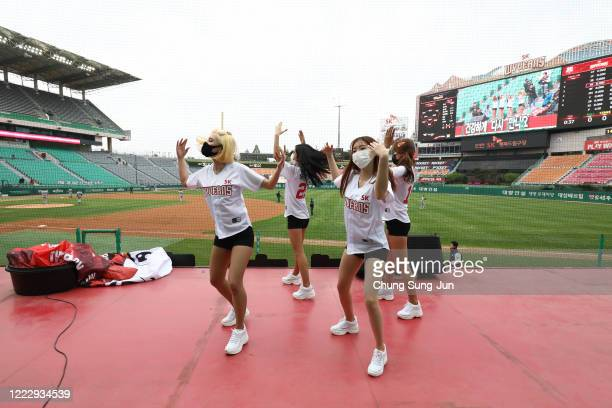 SK Wyverns cheerleaders at club's Happy Dream Ballpark during the Korean Baseball Organization League opening game between SK Wyverns and Hanwha...