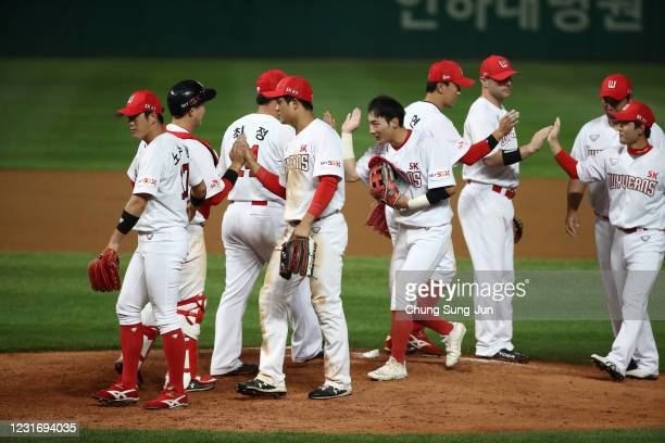 Wyverns players celebrate after winning the KBO League game between Hanwha Eagles and SK Wyverns at the Incheon SK Happy Dream Park on May 29 2020 in...
