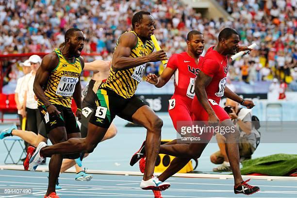 4 x 100 Meter Staffel relay letzter Wechsel r Salaam auf j Gattlin USA und Ashmeade wechselt auf Usain Bolt JAM Leichtathletik WM Weltmeisterschaft...