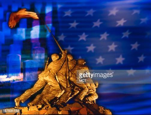 x 19 in / 52x48 mm / 177x164 pixels Image of Iwo Jima memorial superimposed on US flag