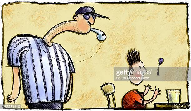 x 375'/164 x 95mm Kirk Lyttle color illustration of a coach or referee blowing a whistle behind a startled boy seated with a jar of peanut butter