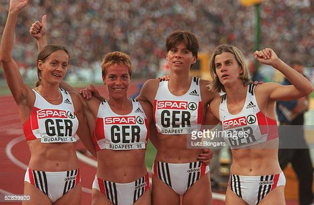 LEICHTATHLETIK EM 1998 4 x 400 m Staffel Frauen Budapest 18 230898 Uta ROHLAENDER Grit BREUER Anke FELLER Silvia RIEGER