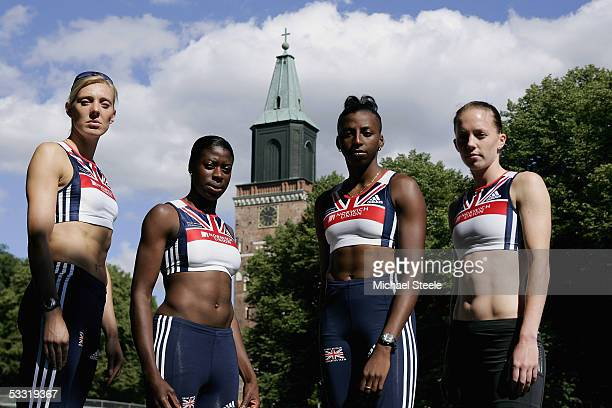 X 400m Relay team Lee McConnell, Christine Ohuruogu, Donna Fraser and Nicola Sanders pose during the Norwich Union GB Training Camp, on August 3,...