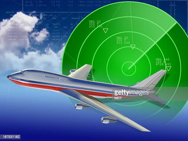 X 4.8 in / 164x123 mm / 558x419 pixels Image of jet superimposed on radar screen.
