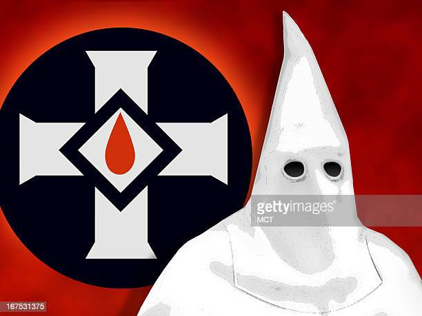 x 48 in / 164x123 mm / 558x419 pixels Image of Ku Klux Klan member in front of KKK logo