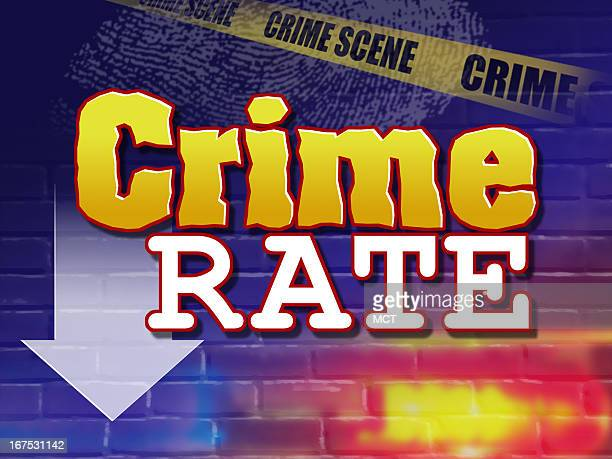 x 48 in / 164x123 mm / 558x419 pixels Image of words Crime rate with arrow pointing down superimposed over images of fingerprint crime scene tape Can...