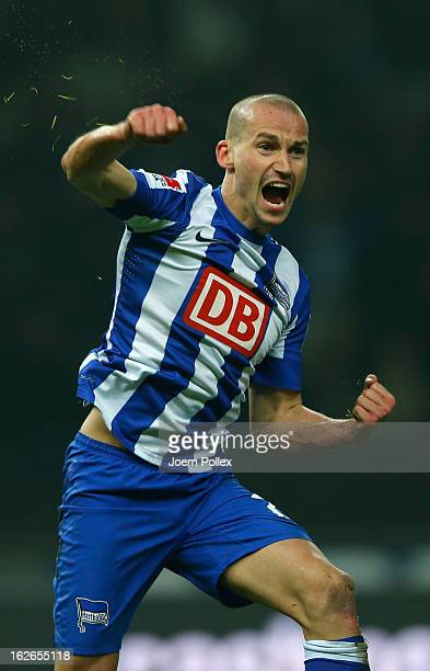 X of Berlin and x of Kaiserslautern compete for the ball during the Second Bundesliga match between Hertha BSC and 1. FC Kaiserslautern at...