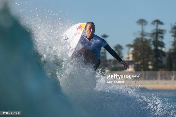 3 x World WSL Champion Carissa Moore of Hawaii surfing in Round 3 of the 2020 Sydney Surf Pro at Manly Beach on 11 March 2020 in Sydney Australia...
