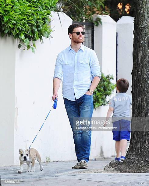 Xabi Alonso and his son Jon Alonso are seen on May 11 2013 in Madrid Spain