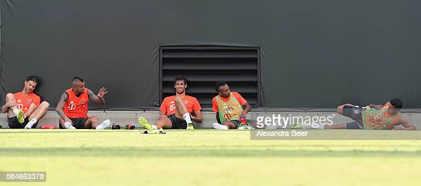 Xabi Alonso Arturo Vidal Javi Martinez Julian Green and Thiago of FC Bayern Muenchen are pictured after a training session at the AUDI Summer Tour...