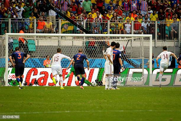 Xabi Alonso from Spain sacks the penalty kick to score 10 Spain over Netherlands in Salvador for the match of the 2014 World Cup