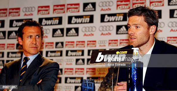 Xabi Alonso gives his first press conference as Real Madrid player after a training session at Santiago Bernabeu stadium on August 5 2009 in Madrid...