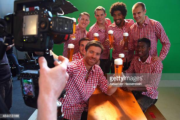 Xabi Alonso Mario Goetze Bastian Schweinsteiger Manuel Neuer Dante David Alaba and Holger Badstuber of Bayern Muenchen attend the FC Bayern Muenchen...