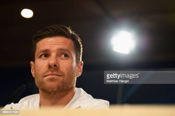 Xabi Alonso of Bayern Muenchen looks on during a press conference at Estadio Santiago Bernabeu on April 17, 2017 in Madrid, Spain.