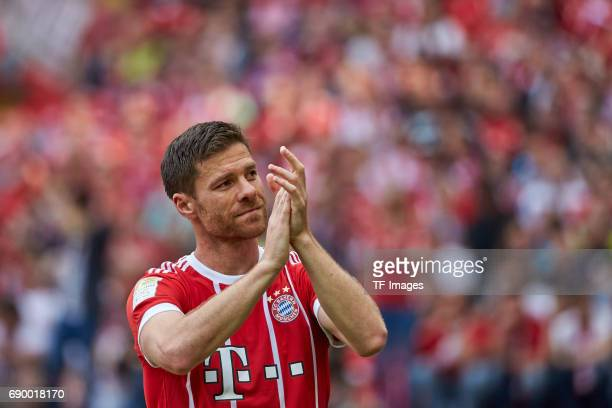 Xabi Alonso of Bayern Muenchen looks on during the Bundesliga match between Bayern Muenchen and SC Freiburg at Allianz Arena on May 20 2017 in Munich...