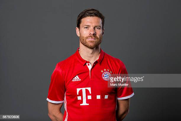 Xabi Alonso of FC Bayern Munich pose during the team presentation on August 10 2016 in Munich Germany