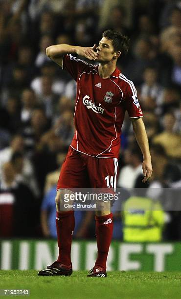 Xabi Alonso of Liverpool celebrates after he scored during the Barclays Premiership match between Liverpool and Newcastle United at Anfield on...