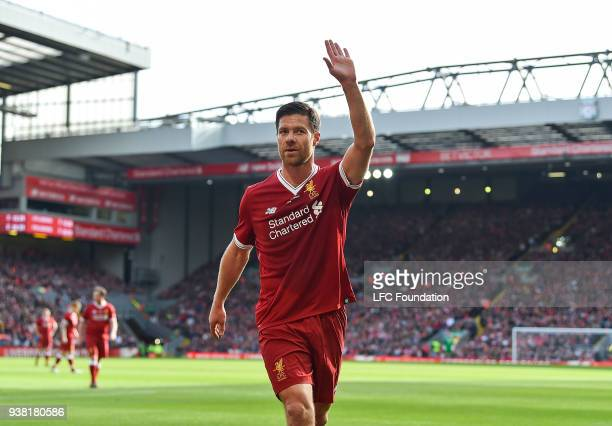 Xabi Alonso of Liverpool during the LFC Foundation charity match between Liverpool FC Legends and FC Bayern Legends at Anfield on March 24 2018 in...