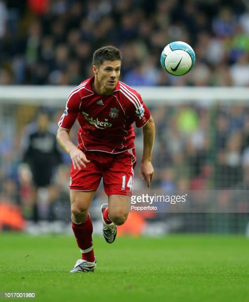 Xabi Alonso of Liverpool in action during the Barclays Premier League match between Liverpool and Chelsea at Anfield on August 19 2007 in Liverpool...