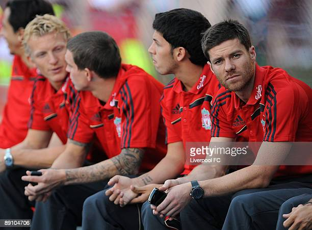 Xabi Alonso of Liverpool sits on the bench during a preseason friendly between Rapid Vienna and Liverpool FC at the GerhardHanappi Stadium on July 19...