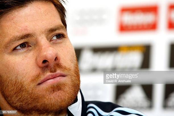 Xabi Alonso of Real Madrid gives a press conference after a training session at Valdebebas on January 14 2010 in Madrid Spain