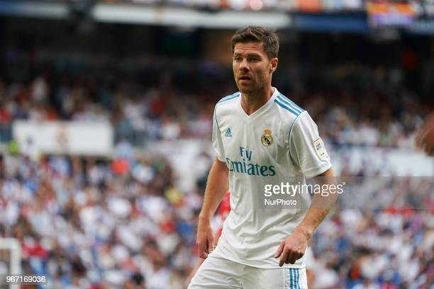 Xabi Alonso of Real Madrid Legends during the Corazon Classic match between Real Madrid Legends and Asenal Legends at Estadio Santiago Bernabeu on...