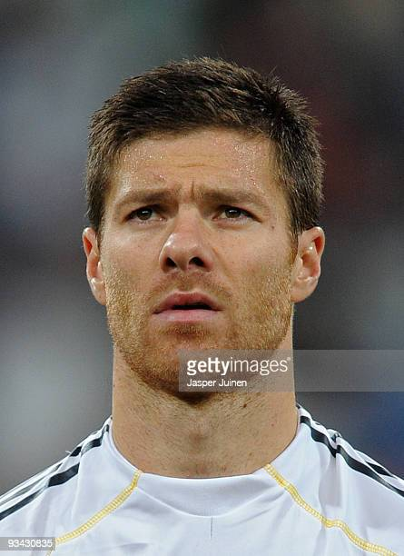 Xabi Alonso of Real Madrid of Real Madrid looks on prior to the start of the Champions League group C match between Real Madrid and FC Zurich at the...