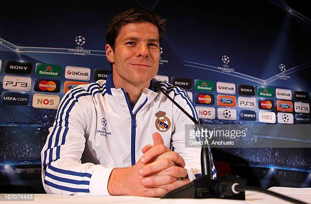 Xabi Alonso of Real Madrid talks to the media during a press conference at the Amsterdam Arena ahead of their UEFA Champions League Group G match...