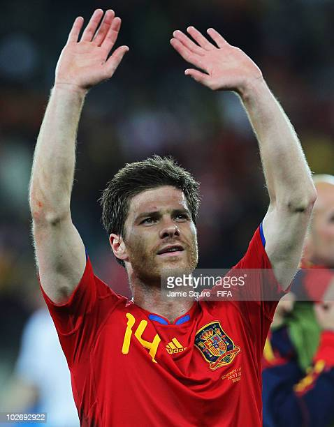 Xabi Alonso of Spain celebrates after the 2010 FIFA World Cup South Africa Semi Final match between Germany and Spain at Durban Stadium on July 7...