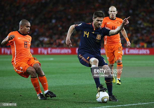 Xabi Alonso of Spain controls the ball during the 2010 FIFA World Cup South Africa Final match between Netherlands and Spain at Soccer City Stadium...