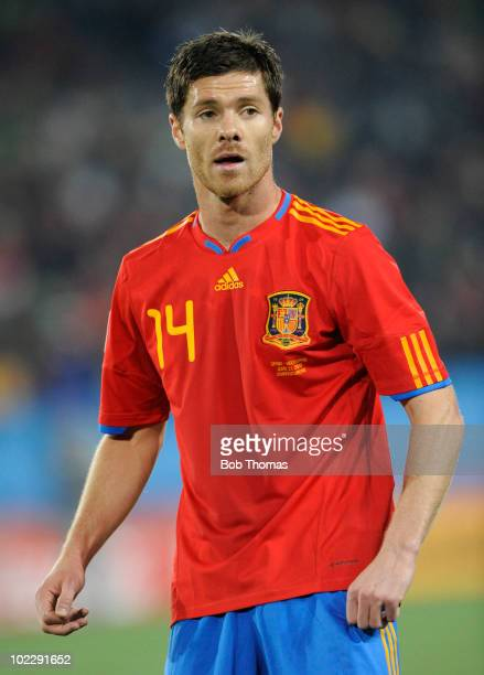 Xabi Alonso of Spain during the 2010 FIFA World Cup South Africa Group H match between Spain and Honduras at Ellis Park Stadium on June 21 2010 in...