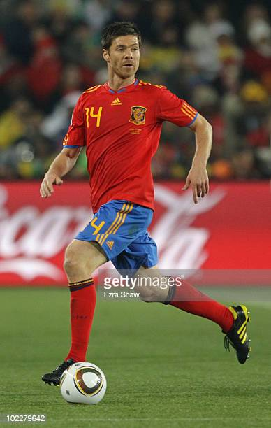 Xabi Alonso of Spain in action during the 2010 FIFA World Cup South Africa Group H match between Spain and Honduras at Ellis Park Stadium on June 21...