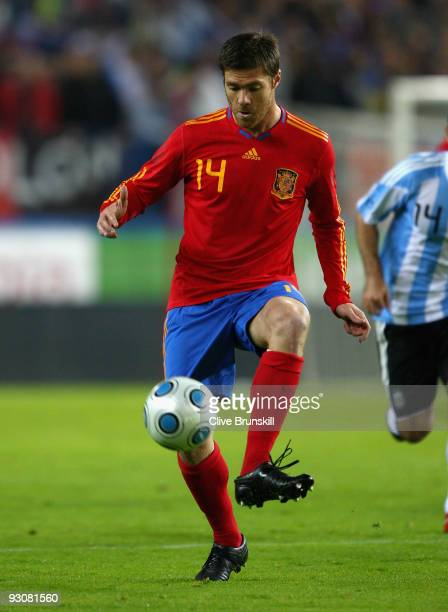 Xabi Alonso of Spain in action during the friendly International football match Spain against Argentina at the Vicente Calderon stadium in Madrid on...