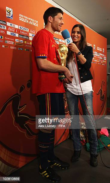 Xabi Alonso of Spain is interviewed after the 2010 FIFA World Cup South Africa Final match between Netherlands and Spain at Soccer City Stadium on...