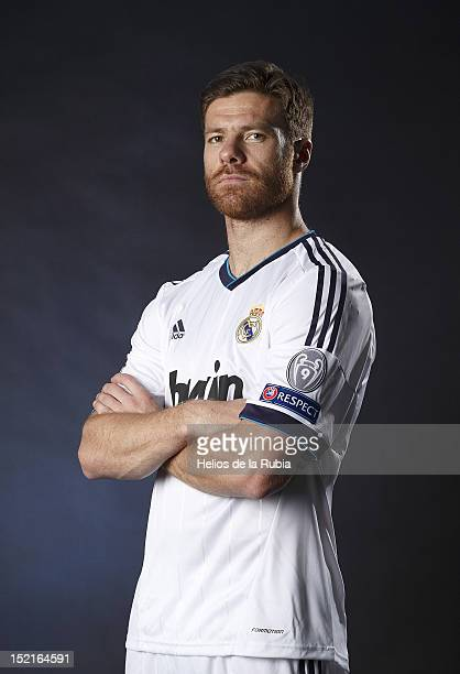 Xabi Alonso poses during the Real Madrid CF presentation at Valdebebas training ground on September 13, 2012 in Madrid, Spain.