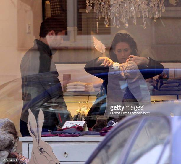 Xabi Alonso soccer player and his wife Nagore Aranburu are seen shopping for a baby on November 3 2009 in Madrid Spain