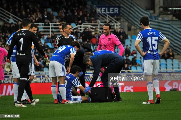 Xabi Prieto of Real Sociedad injuried during the Spanish league football match between Real Sociedad and Levante at the Anoeta Stadium on 18 February...