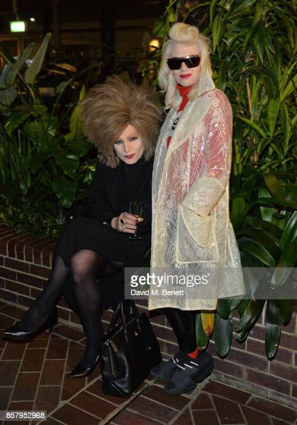 Xabier Arakistain and Pam Hogg attend a private view of the Basquiat exhibition cohosted by NETAPORTER in partnership with Frieze at Barbican Centre...