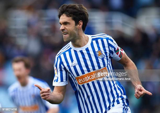 Xabier Prieto of Real Sociedad celebrates after scoring the first goal for Real Sociedad during the La Liga match between Real Sociedad and Levante...