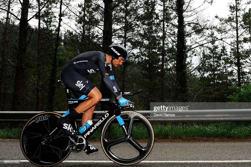 Xabier Zandio of Spain and Team Sky in action during Stage Six of Vuelta al Pais Vasco on April 12, 2014 in Markina, Spain.