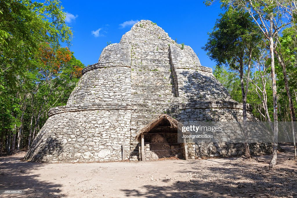 Xaibe, Mayan pyramid surrounded by jungle : Stock Photo