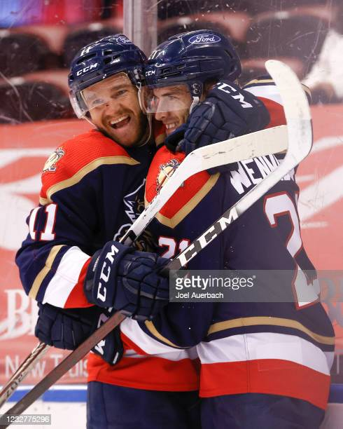 XAlexander Wennberg celebrates his third period goal with Jonathan Huberdeau of the Florida Panthers against the Tampa Bay Lightning at the BB&T...